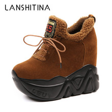 купить New 2019 Winter Women Ankle Boots 11CM Heels High Top Wedge Boots Warm Fur Platform Leather Sneakers Cotton Snow Boots For Woman онлайн