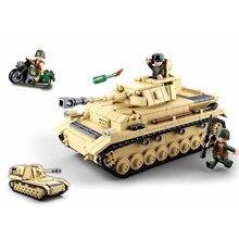 Sluban segunda guerra mundial exército militar alemão panzer iv tanque modelo blocos de construção wwii exército soldado tijolos clássico crianças brinquedos meninos
