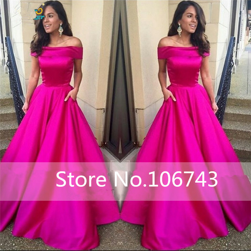 Abiye Elbise New Long Elegant Fuchsia Evening Boat Neck A Line Long Prom Party Gown Vestidos De Noite Mother Of The Bride Dress