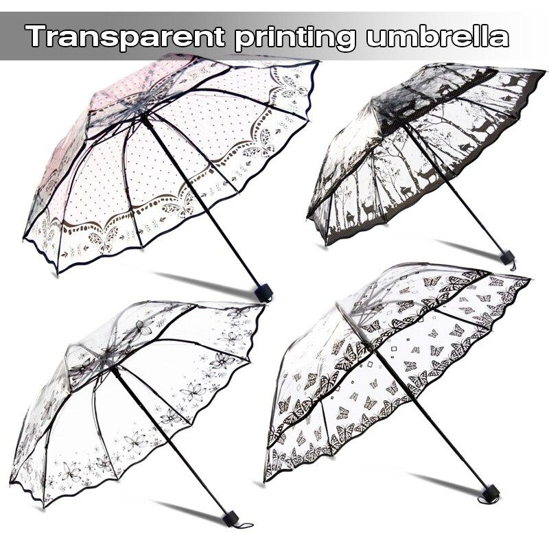 Creative Transparent Long-handle Rain Umbrella Ultra Light Women Kids Parasol Sunny Umbrella Semi-automatic Princess Umbrellas