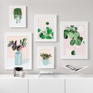 Современные маленькие зеленые растения в горшке зеленый укроп Холст Картина постер и печать дома стены художественное украшение для гости...