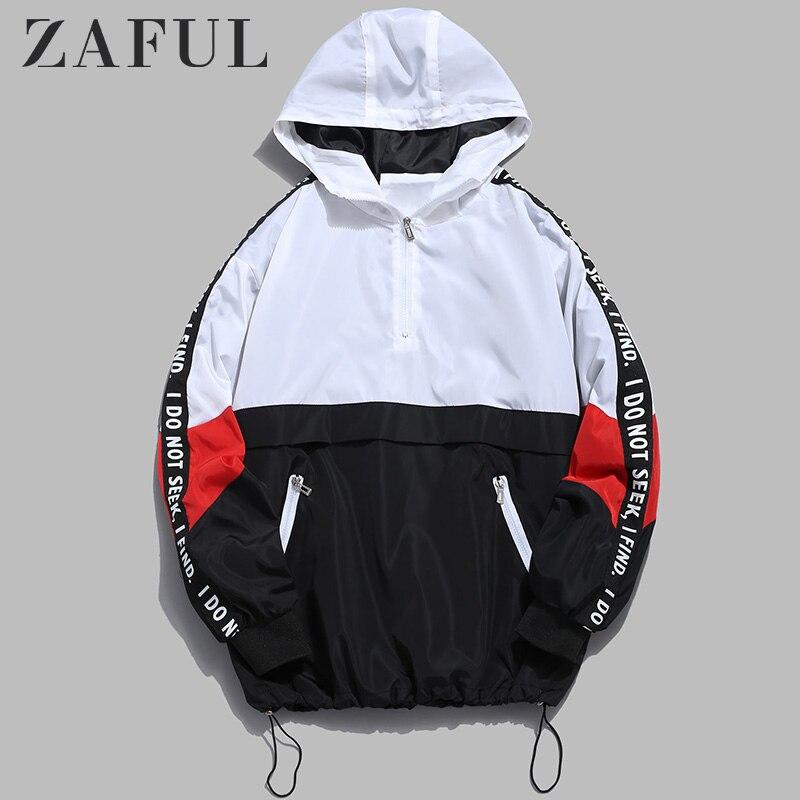 ZAFUL Men Color Block Side Letter Striped Hoodie Quick Dry Half Zip Pockets Windbreak Graphic Sweatshirts Student Hip Pop Hoody