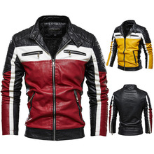 China plus velvet leather jacket men's European size jacket youth motorcycle clothing color matching 2021 large size new fashion