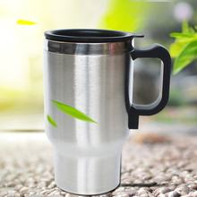 12 V 500ml Stainless Steel Thermos Heating Cup Car Auto Adapter Heated Kettle Travel Mug Auto Accessories Travel Camping(China)