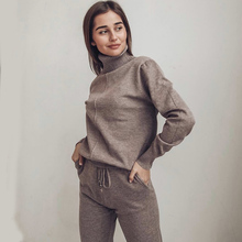 Women suit track costume 2 pieces sets Autumn winter turtleneck pullovers and long knitted pants knitted suits cheap SNOW PINNACLE REGULAR Ankle-Length Ages 18-35 Years Old Elastic Waist Polyester Casual Full Pockets 1804 Full Length Solid