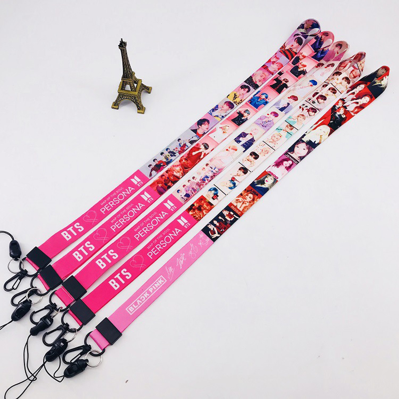 KPOP Laser Member Name Keychain Bangtan Boys Lanyard Key Chains Long Rope Phone Straps Keyring Pendant Accessories