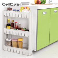 Slide Out Tower Folding 3 Tier Castor Trolley Spice Rack Kitchen Island Useful Convenience Rolling Storage Grocery Cart