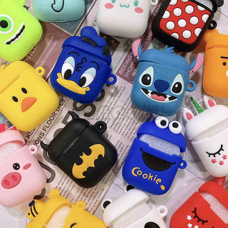 Cute Cartoon Wireless Bluetooth Case For Apple Airpods Earphone Silicone Headphones Cases For Airpods 2 Protective Soft Cover