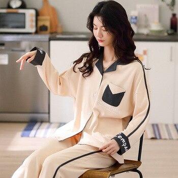 Ropa de hogar para mujeres Pijamas de Mujer ropa de dormir de Invierno conjunto de Pijamas calientes para mujeres de algodón traje para casa pijama Mujer Nuisette Femme