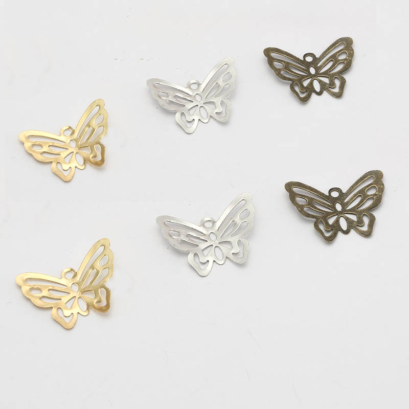 50pcs 22x18mm Metal Butterfly Filigree Wraps Pendant Retro Charm Findings For DIY Jewelry Making Headwear Neacklace Accessories