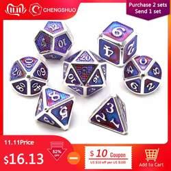 """Chengshuo """"Драконья чешуя"""" металлические кости двойной цвет dnd набор 7 шт. многогранные РПГ для подземелья и драконов цинковый сплав кубики"""