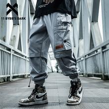 Men Trousers Joggers Hip-Hop Cargo-Pants Multi-Pockets Elastic-Waist Harajuku Streetwear