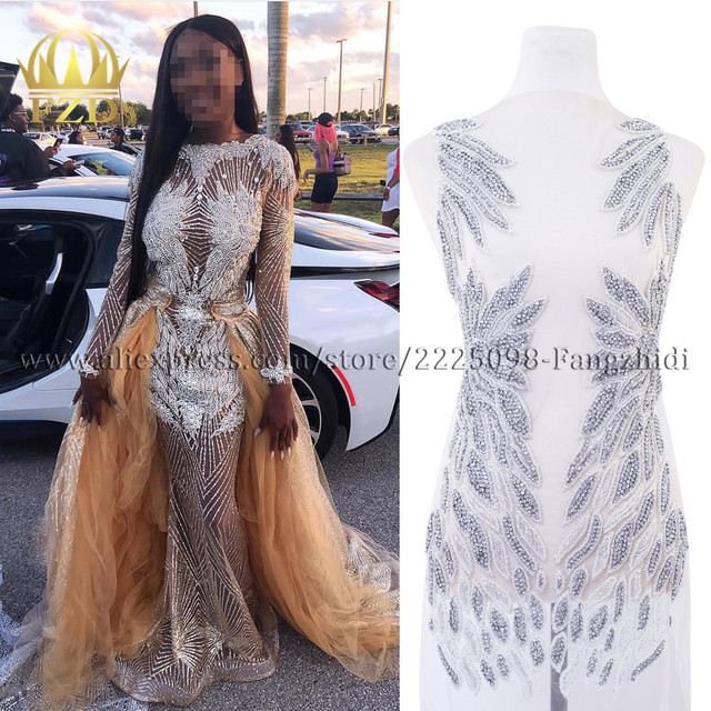 Fzd 1 セットて bodices パッチスパンコール縫製ラインストーンアップリケビーズ結婚式のイブニングドレスの鉄のためのパッチの服
