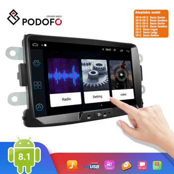 Podofo 2 Din Android 8.1 Car Radio Autoradio 8'' GPS MP5 Mirror Link For Renault Sandero/Duster/Logan/Dokker Multimedia Player image