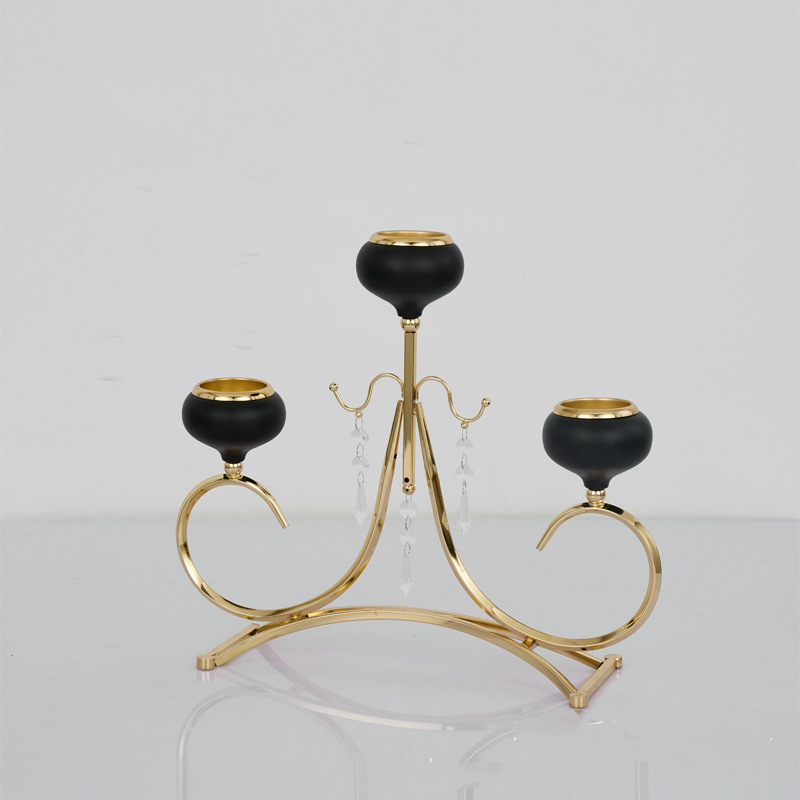 3-Arms Candle Holders Metal Candelabras Shiny Gold Candlesticks Wedding Table Centerpieces Candle Holder For Home Decoration