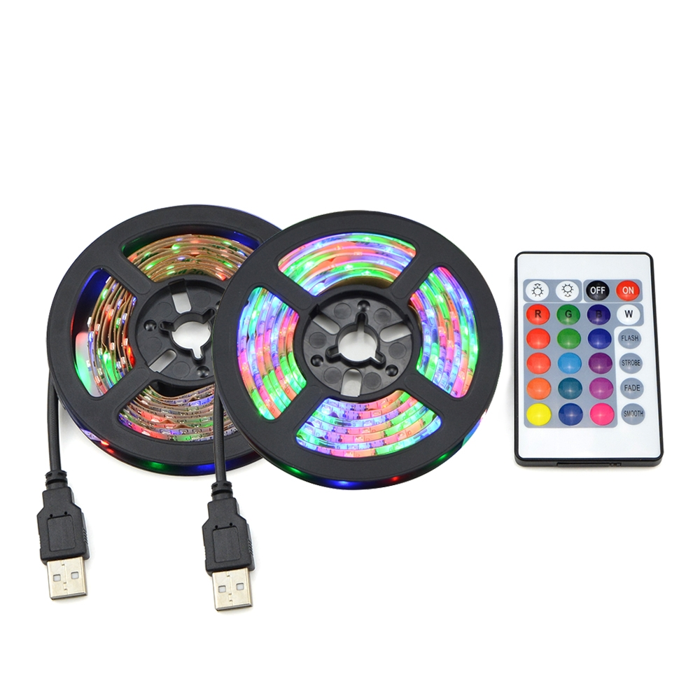 RGB LED Lights 2835 3528 SMD 60LED/M Kitchen Cabinet Lamp LED Tape 1-5m Waterproof Strip Closet TV PC Decoration 5V USB Cable