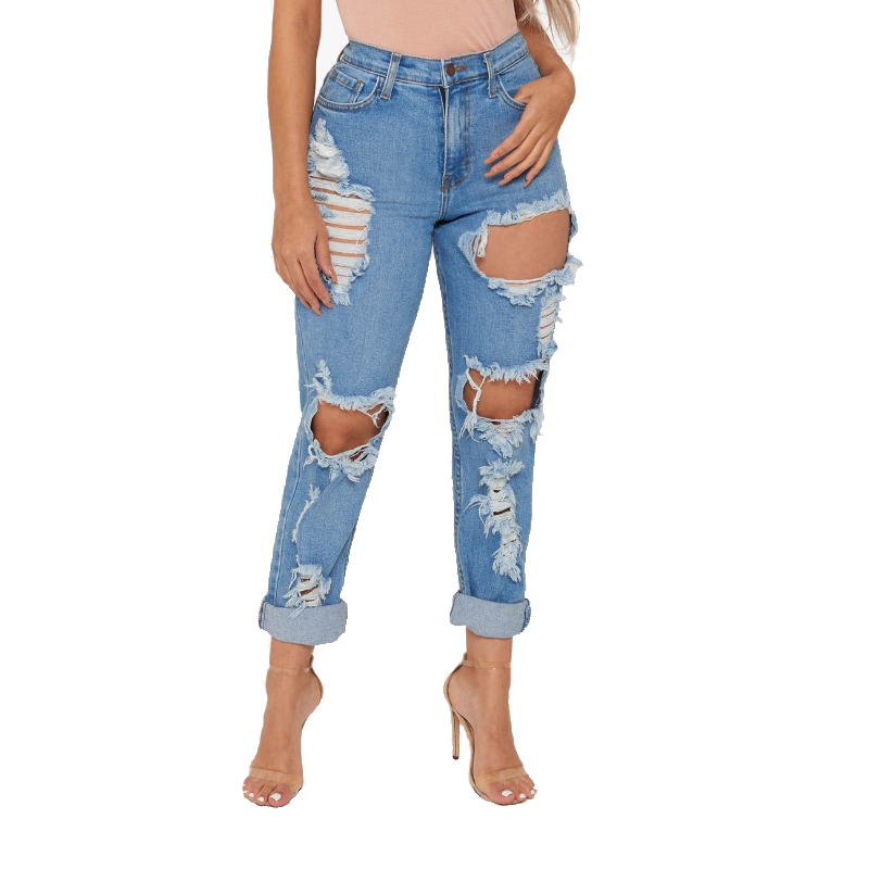 Sexy Street Club Destroyed Ripped Boyfriend Jeans For Women Damage