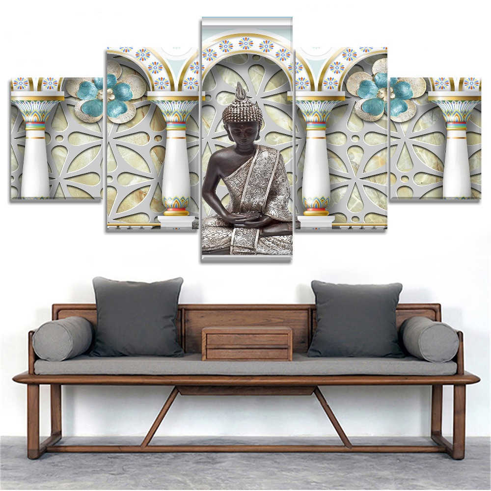 5 Pieces Canvas Buddha Print HD Picture Poster For Modern Decorative Bedroom Living Room Home Wall Art Decor Art Framework in Painting Calligraphy from Home Garden