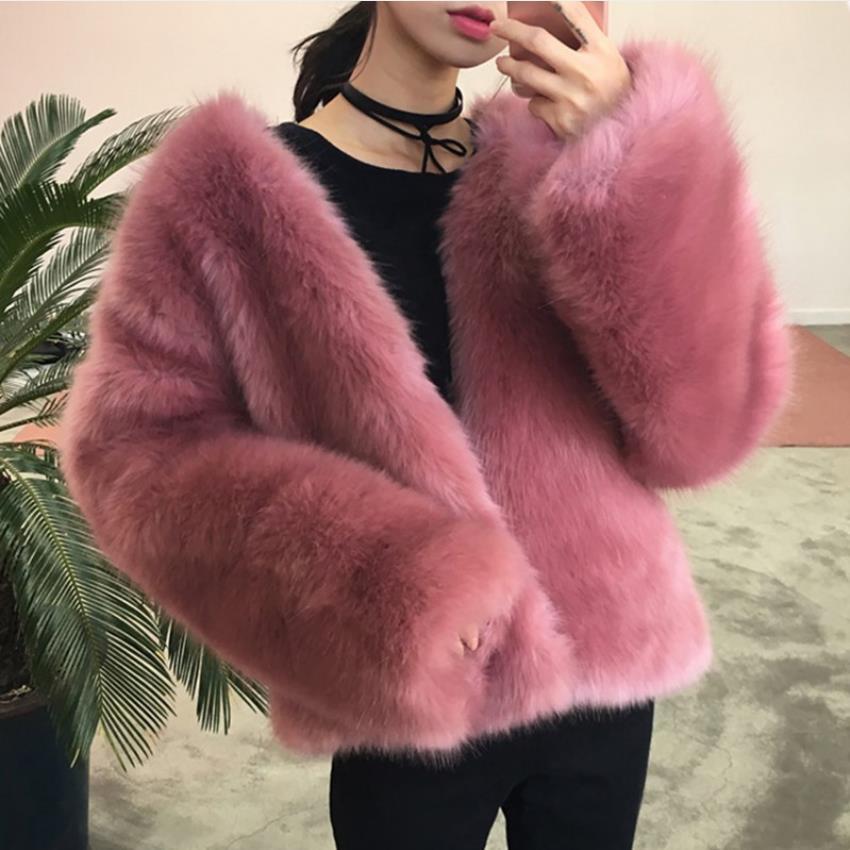 Fashion Pink color fluffy faux Fox Fur coat Winter New brand Female great quality fur jacket faux fur Coats wq813 dropship