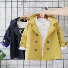 От 6 месяцев до 5 лет, новинка, модный Тренч для маленьких мальчиков и девочек осенне-зимнее теплое хлопковое пальто с капюшоном утепленная куртка на пуговицах с длинными рукавами, парка, верхняя одежда