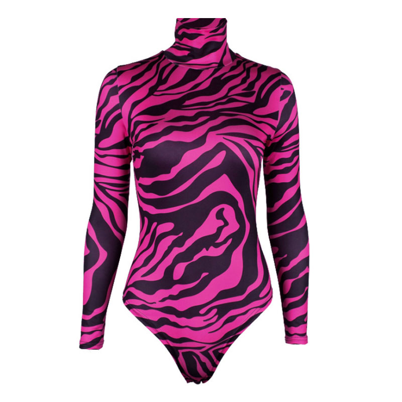 Women Fashion Sexy Mesh Sheer Jumpsuit Casual Ladies Tiger Stripe Bodysuit