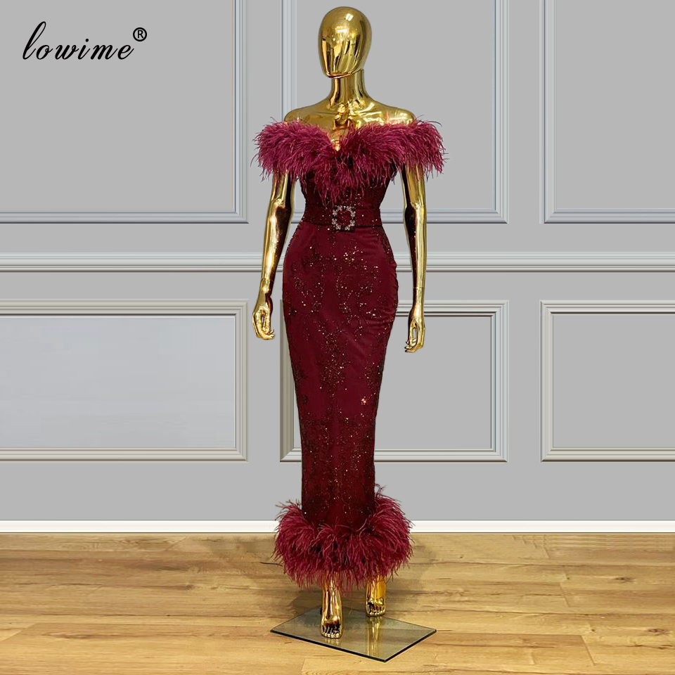 2020 Vintage Burgundy Mermaid Cocktail Dresses Bateau Women Prom Dress Party Ankle -Length Red Carpet Runaway Gowns Customize