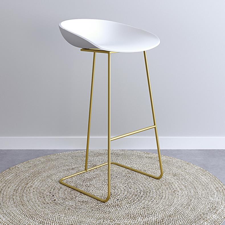Nordic Bar Stools Gold Wrought Iron Stool European Modern Minimalist Home Backrest High Chair Creative Net Red Bar