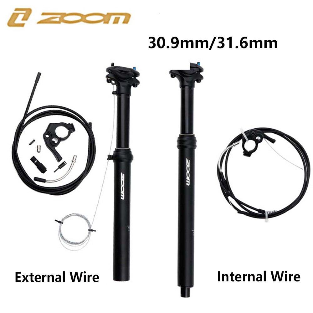 ZOOM ajustable para tija de sillín de bicicleta, 100mm de viaje, 30,9mm, 31,6mm, Control de línea externa/interna, poste de asiento de elevación hidráulica