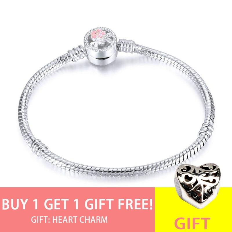 Acheter 1 obtenir 1 gratuit 2019 rose émail fleurs de cerisier fleur pince serpent Bracelet pour les femmes fabrication de bijoux 3mm Pandora Bracelets