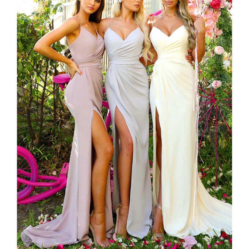 Vestido Madrinha Sexy Chiffon Bridesmaid Dresses Long V-neck Wedding Guest Dress Side Slit Vestido De Festa Maid Of Honor