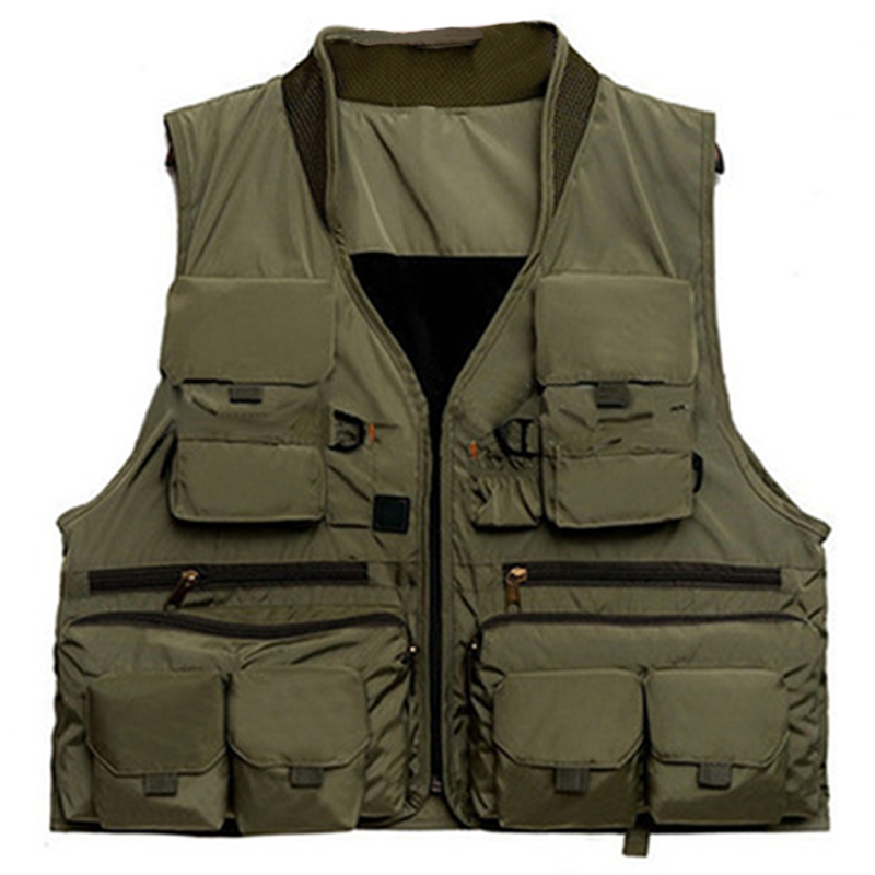 Korean Fishing Vest Quick Dry Fish Vest Breathable Material Fishing Jacket Polyester Fiber Fish Jacket Photography Vest ,Deep Gr