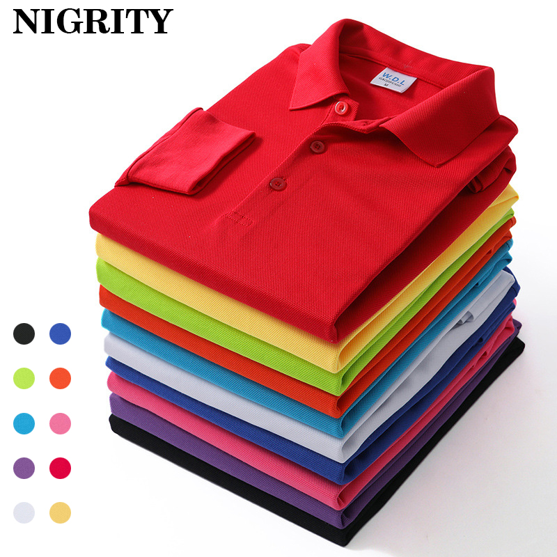 NIGRITY 2019 Autumn Mens Long Sleeve   Polo   shirt Men Casual Solid Color   Polo   Shirts DIY Logo (min 10 pieces to customize logo)