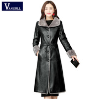 Vangull 5XL Elegant Leather Jacket Women Plush Velvet Long New Slim Fur Collar Leather Coats Black Clothing Lady Coats Outwear