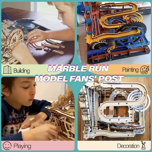 Robotime Rokr 4 Kinds Marble Run DIY Waterwheel Wooden Model Building Block Kits Assembly Toy Gift for Children Adult Dropship 2