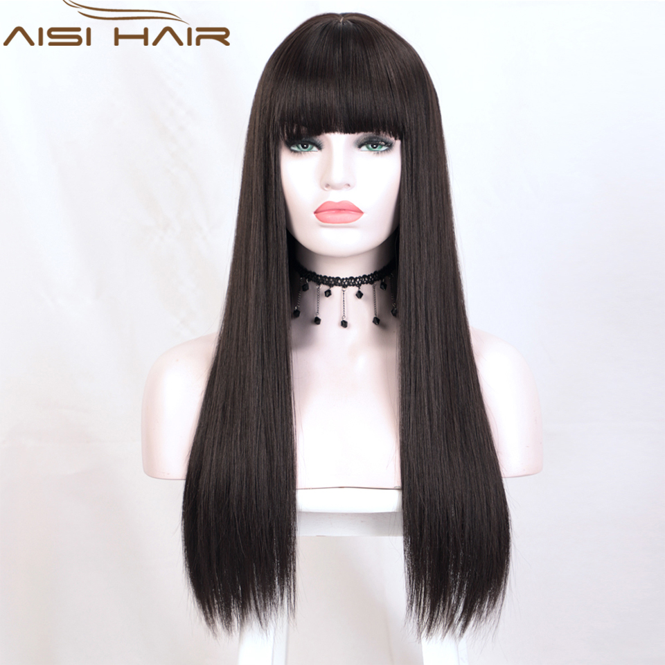 AISI HAIR Long Straight Synthetic Wig with Bangs for Women Dark Brown Natural Silk Fully Heat Resistant Wigs for Daily Party Use