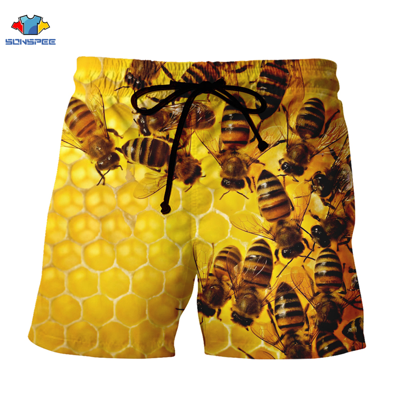 SONSPEE  Bee Insect Hurajuku 3D Print Man Woman Shorts Unisex Hot Fashion Sports Shorts Street Clothing O-Collar Christmas Gifts
