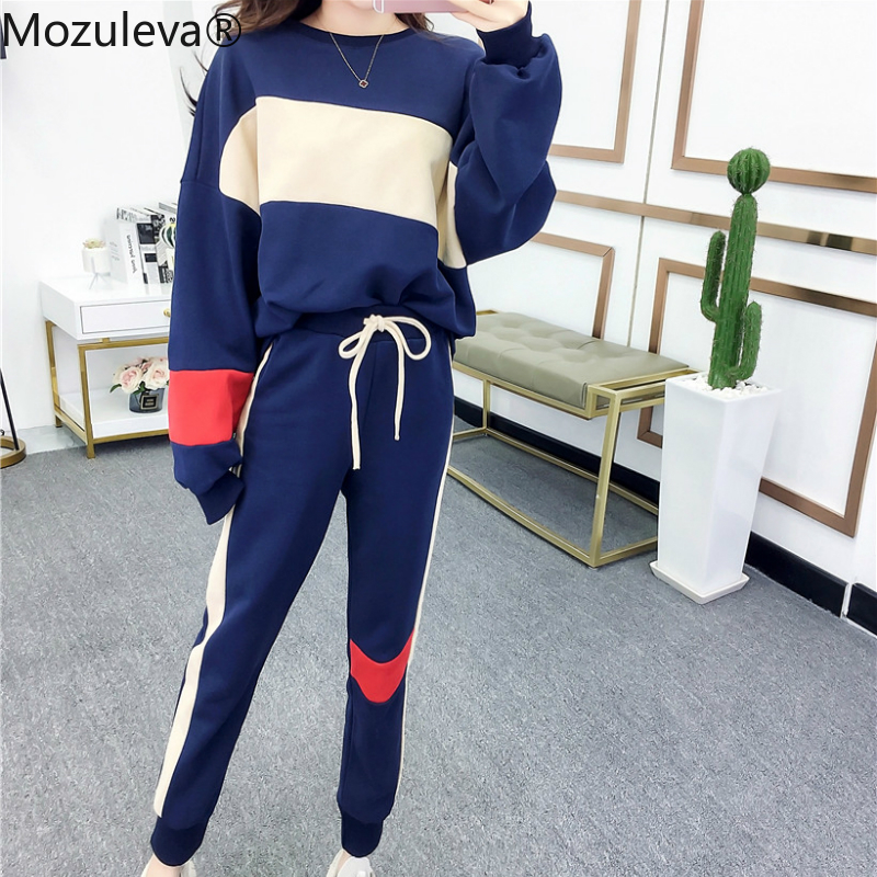 Mozuleva Autumn 2020 New Fashion Korean Twinset Casual Loose Oocket Two Piece Set O-Neck Striped Patchwork Trainingspak Vrouwen