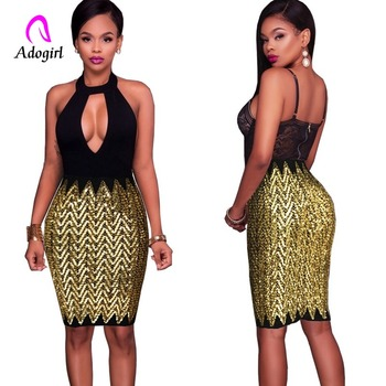 Elegant Gold Summer Sexy Bodycon Skirt Women Shiny Sequined Bandage Casual Chic Pencil Night Club Mini Party