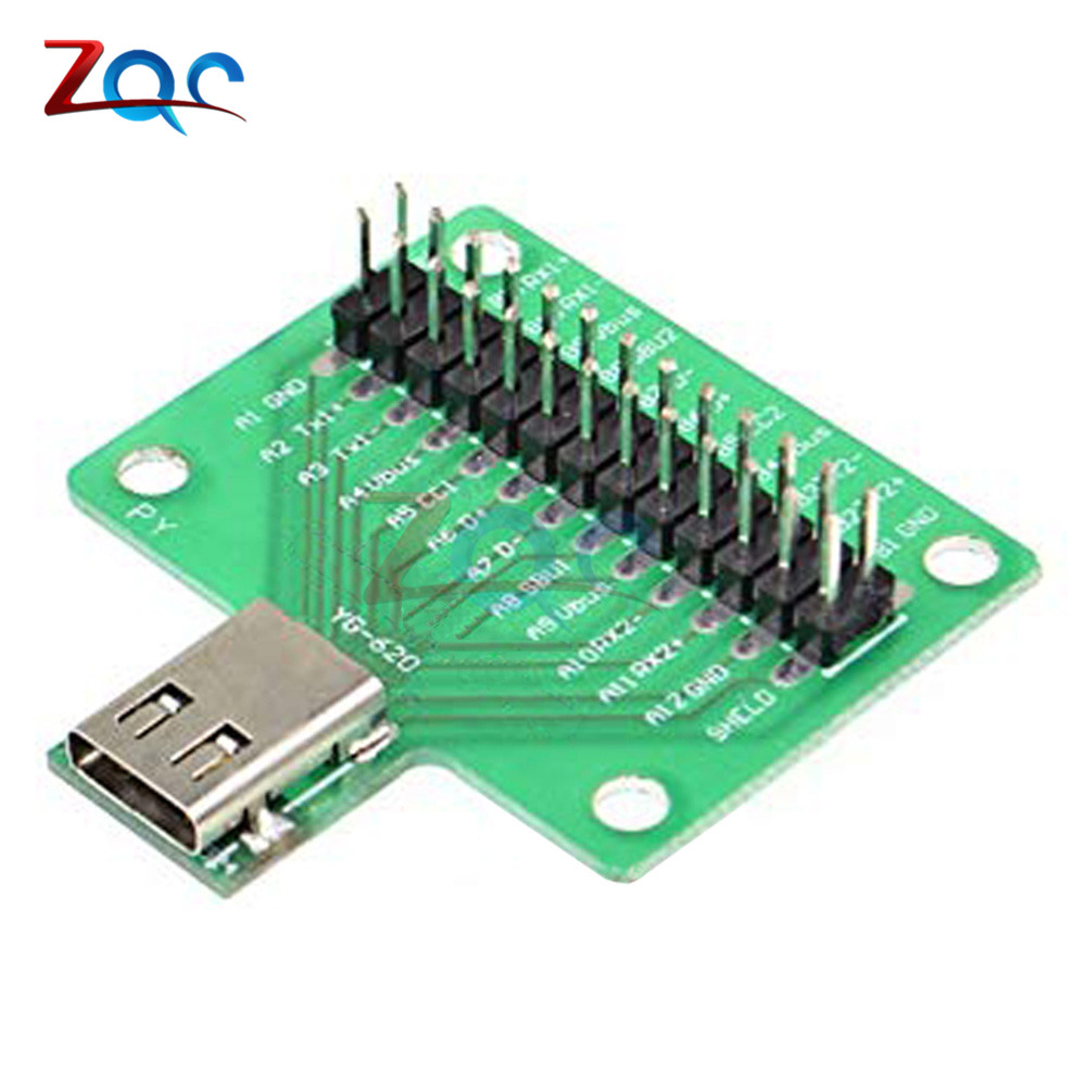 USB 3.1 Cable Test Board 24PIN Type-c Type C Female Plug Jack To DIP Adapter Connector Welded PCB Converter Pin Board