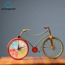 Strongwell Nordic Trendy Iron Art Bicycle Table Clock Retro Desktop Pattern Desk Vintage Home Shabby
