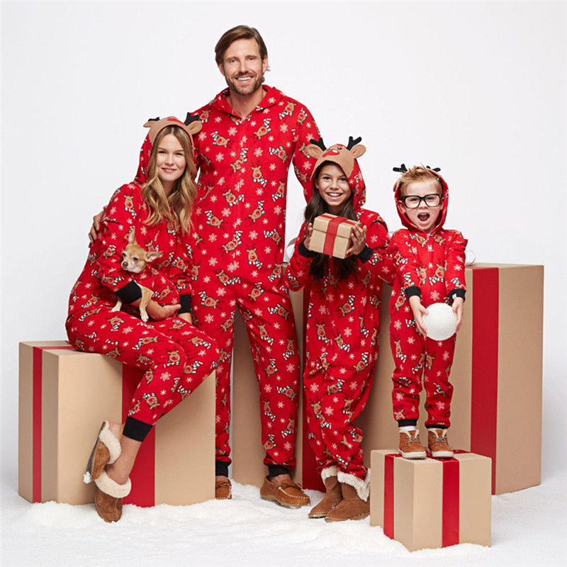 Winter Xmas Family Matching Outfits Christmas Pajamas Set Hooded Reindeer Print Jumpsuit Fashion Casual Outfit Zip Nightwear