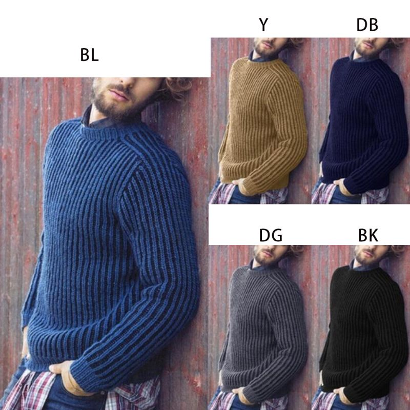 Men's Plus Size Winter Long Sleeve Pullover Sweater Ribbed Knitted Slim Fit Solid Color Round Neck Casual Streetwear Tops M-3XL