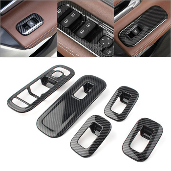 5Pcs ABS Car Door Window Switch Cover Trims Set For Mercedes Benz W177 A-Class A200 A220 A250 2019 Carbon Fiber Styling image