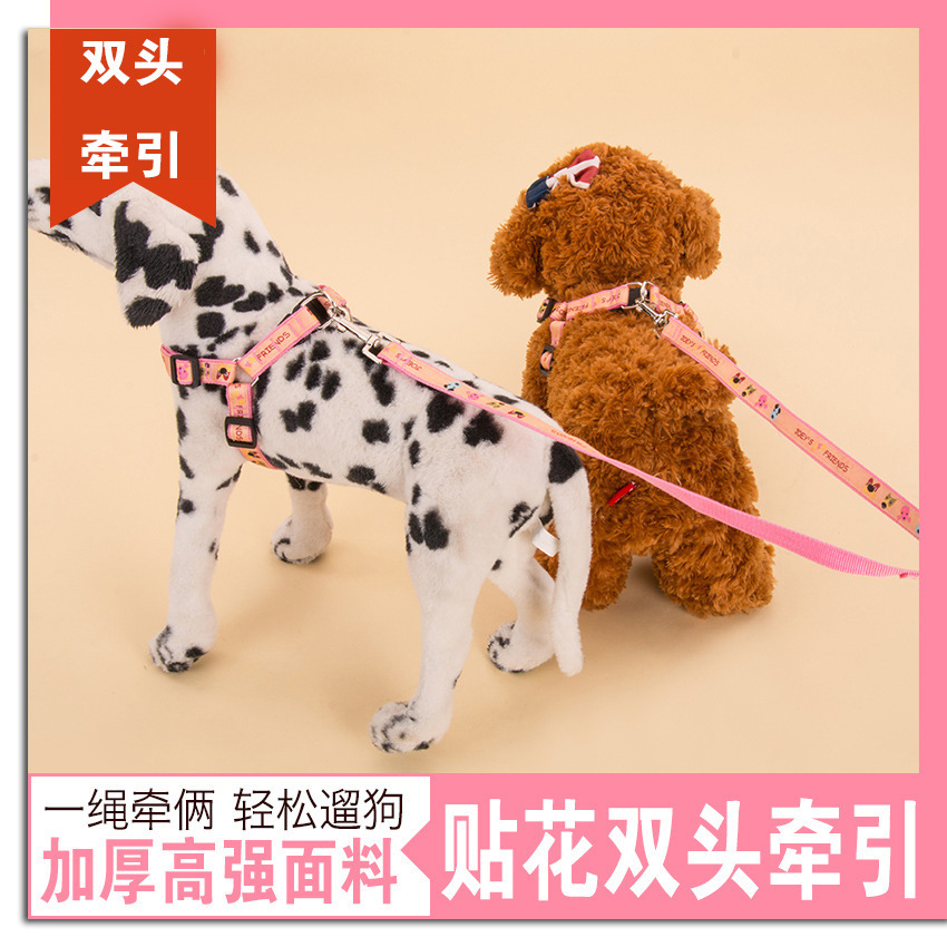 Two Pieces Dog Hand Holding Rope Double One Plus Two Teddy Dalmatian Dog Double Headed Double Pull Rope Pet Dog Dog Chain