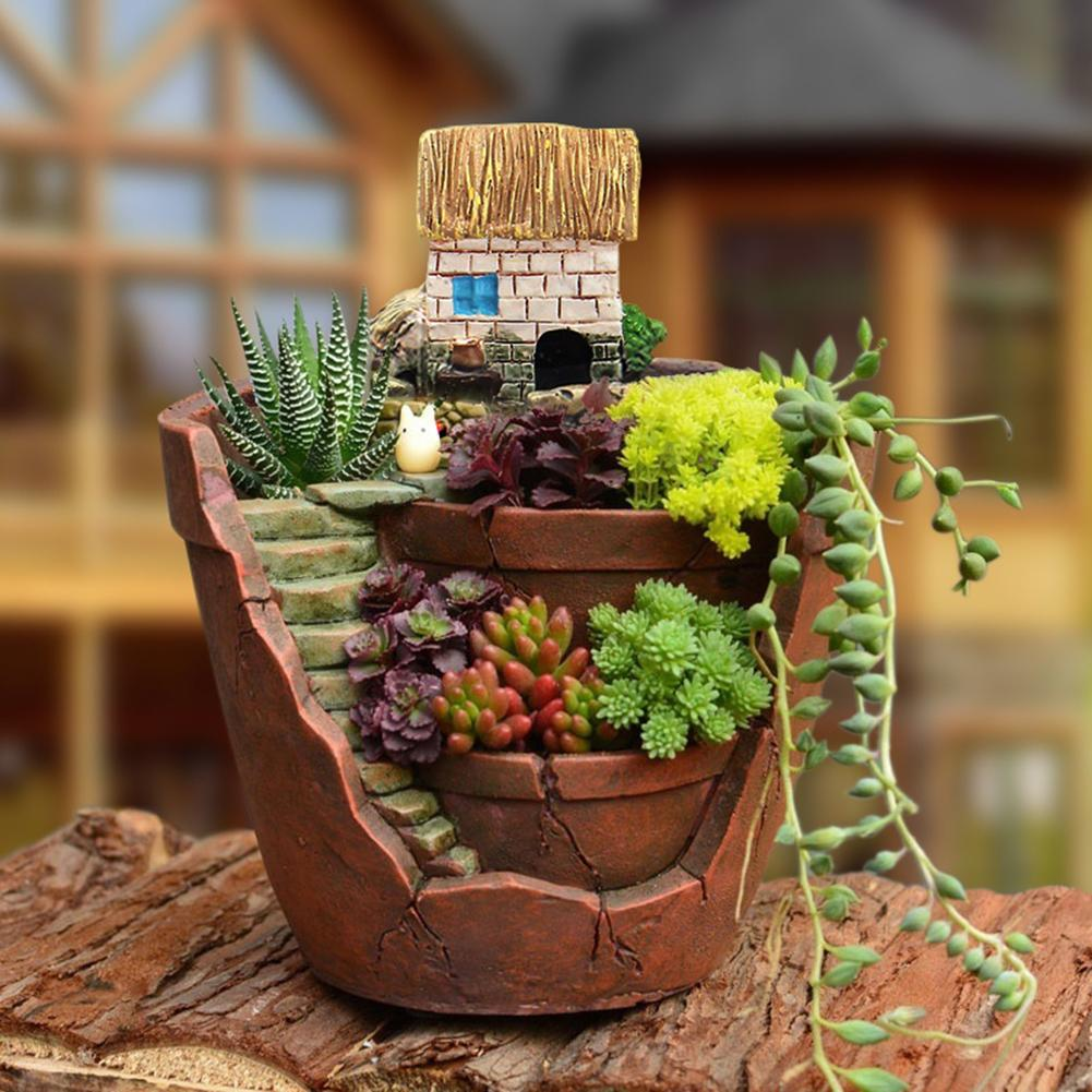 Cute Mini Succulent Planter Flower Plant Bonsai Pot Resin Flower Pot Desktop Potted Holder Micro Landscape Garden Decor