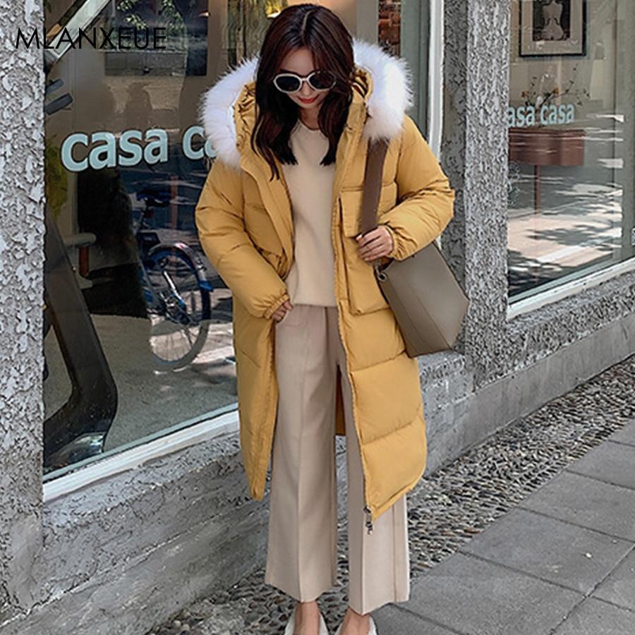 Solid Plus Size Fur Hooded   Parka   Coats Women Zipper Pocket Winter Hoodies Long Jacket Female Harajuku Thicken Cotton Outerwears