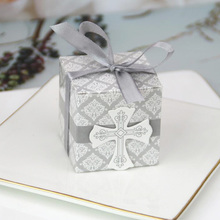 50/100pcs Cross Candy Box With Ribbon Favor And Gift For Baby Shower Baptism Birthday Wedding Decoration Party Supplies