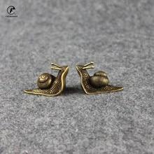 Personality Retro Pure Copper Mini Snail Statue Ornaments Desk Antique Brass Tea Pet Collection Home Decorations