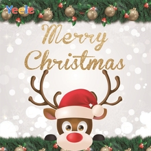 Yeele Christmas Photocall Deer Hat Ball Bokeh Lights Photography Backdrops Personalized Photographic Background For Photo Studio