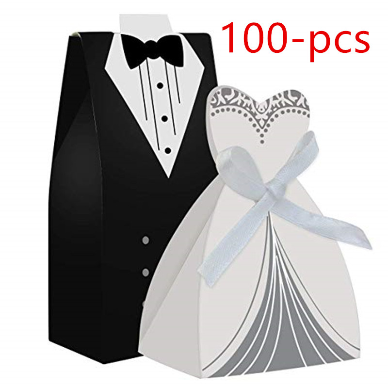 100pcs Party Wedding Favor Dress and Tuxedo Bride Wholesale Favor Candy Box for Gift Birthday Bridal Shower Decoration